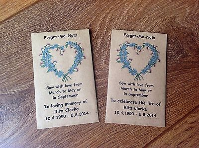 10 Personalised Forget Me Not Seed Envelopes Funeral Memorial In Loving Memory