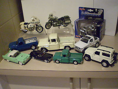 Bulk Lot Diecast Vehicles And Motor Cycles X 10 Items
