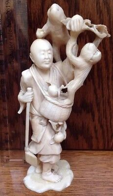 Vintage Chinese Japanese Oriental Woodman & Monkey Carved Detail Statue Ornament