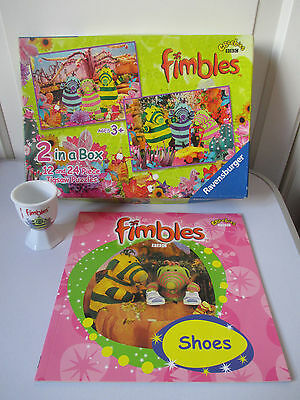 VGC 12&24 Piece Jigsaw Puzzles Fimbles Egg Cup FIMBLES Shoes Book Paperback NEW