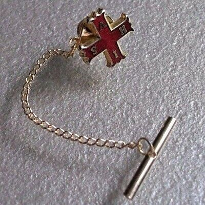 VINTAGE RETRO TIE PIN STUD TAC TACK 1960s 1970s MOD ENAMELLED RED CROSS