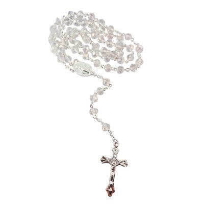 CLEAR Crystal Glass Religious ROSARY Necklace With Crucifix in Clear Gift Box
