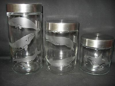 New Etched Blue Right Humpback Orca Whale Glass Cookie Storage Jar Canister Set