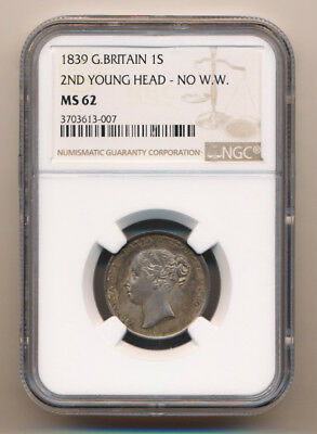 Rare > 1839 British Shilling Ngc Ms62 Beauty (Valuable Collectible) No Reserve