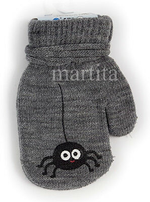 NEW  BOYS WINTER GLOVES WITH STRiING WARM TODDLERS KIDS CHILDRENS  SIZE 10,12,