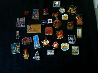 Vintage Russian Soviet pins lot of 27 and 1 Cuba pin.