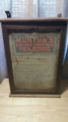EARLY 1900's MUNYON'S HOMEOPATHIC HOME REMEDIES DOUBLE SIDED CABINET DISPLAY!