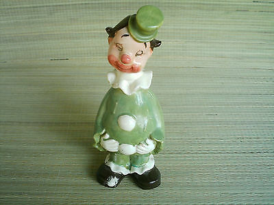 vintage Green Clown Decanter porcelain 10 inches tall.