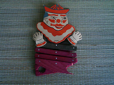 Vintage Clown cardboard wood finger puppet jack in the box type rare japan toy.