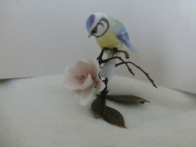 Albany Fine China Worcester Blue Tit & Flower Porcelain & Bronze