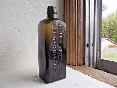 Olive Green Dr.hostetter's Stomach Bitters Crude Civil War Era Dug Nice Color