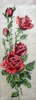Margot  Completed Tapestry Cross Stitch Unframed Picture Pink Rose Panel