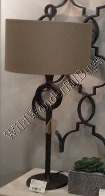 "Circle Table Lamp Antique Bronze 35"" Hammered Metal Cast Iron Column Drum Shade"