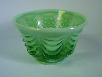 Opalescent Green Glass Bowl Swag Pattern