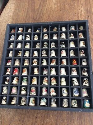 Ceramic Thimble Collection Of 81 Various Thimbles.+ The Wooden  Display Box