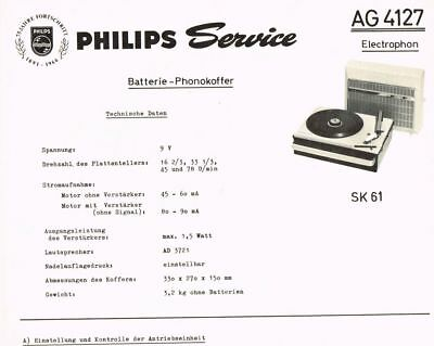 Philips Plattenspieler AG4127 Schaltplan Manual 1966 Original SK61 AG 4127