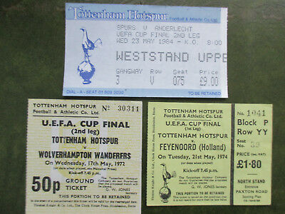Original Tottenham home tickets from all 3 Spurs UEFA Cup Finals 1972 1974 1984