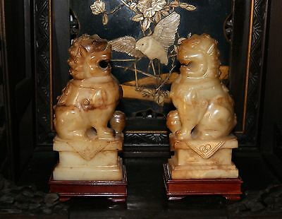 Pair Chinese White Jade Lion Dogs