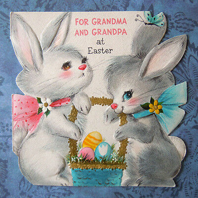 Vintage 1960 Die Cut Greeting Card Easter Bunny Rabbits with Basket