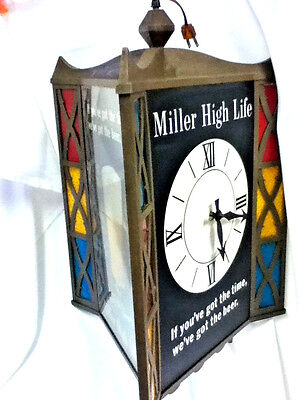 Miller High Life beer sign large lighted clock motion spinning revolving light