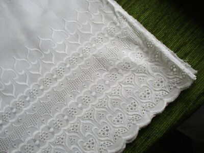 """VINTAGE BRODERIE ANGLAIS LACE COTTON MATERIAL - 90"""" x 38"""" - UNUSED"""