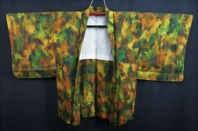 Vintage Japanese Ladies' Green/Orange Silk Mix Abstract Kimono Haori Jacket MED