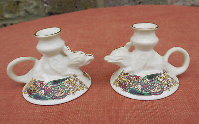"CRE Irish Celtic Porcelain ""Candle Holders""  x 2"