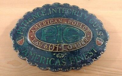 Vtg Rare American Police Law & Order Pig Belt Buckle Indiana Metal Craft Color