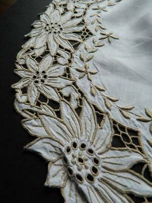 """Vintage Madeira hand embroidered cream Irish linen table topper or centre 18"""""""