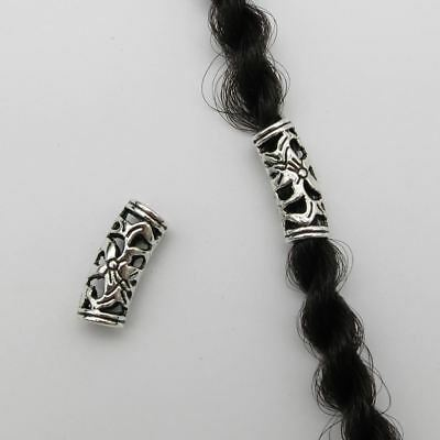 Tibetan Silver Hair Flower Beads Rasta Dread Dreadlocks Cuffs 4.6mm Hole 15pcs