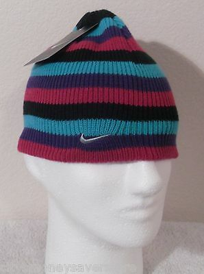 37d713925 NWT NIKE YOUTH Girls Knit Beanie Hat Cap 4/6X Multi-Color MSRP$17