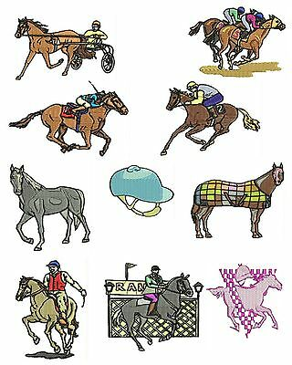 Horse Racing Machine Embroidery Designs, Horse Embroidery Designs, TSN Designs