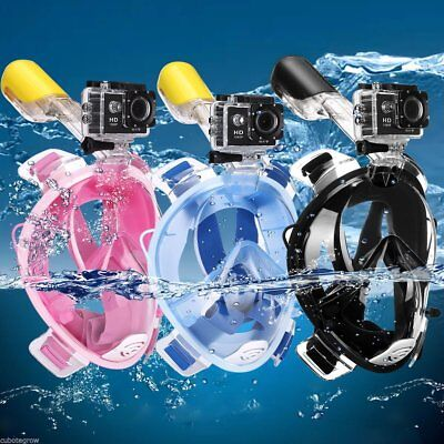 UK Full Face Snorkeling Mask Scuba Diving Swimming Snorkel W PIPE for Gopro