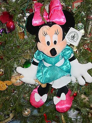 """2016 Disney Minnie Mouse Blue Dress Pink Bow Mint With Tags 20"""" Tall"""