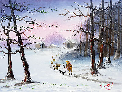 """Mal..burton Original Art Oil Painting   """" Thats The Rest Of The Sheep Safe Boy """""""