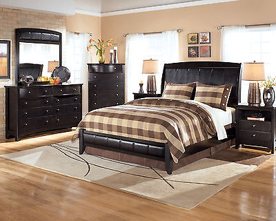 CELINE 5 pieces Black Bedroom Set Furniture w/ King Size Sleigh Faux Leather Bed