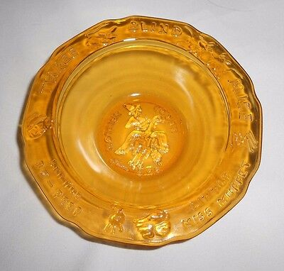 Vtg Amber Nursery Rhymes Childrens Dish Bowl Tiara by RS Indiana Glass Child's