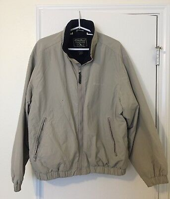 VTG Mens EDDIE BAUER Fleece Lined JACKET Size Large Beige / Blue Excellent USA