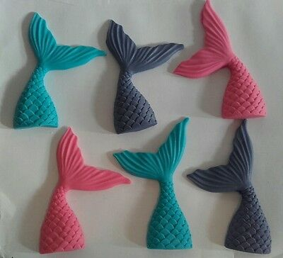 EDIBLE MERMAID TAILS CAKE TOPPERS x 6