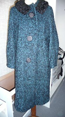 Vintage 1950S/60S Boucle Winter Coat Black And Turquoise Size 12