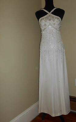 JB Dupuis white silver vtg 1970 duz 1930 halter gown GLAM COSTUME AS IS XS 130