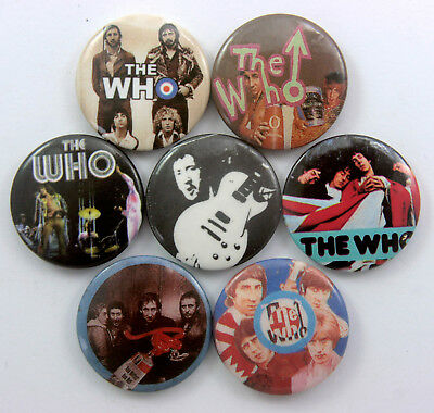 THE WHO AND PETER TOWNSEND BUTTON BADGES 7 x Vintage The Who Badges * Music *