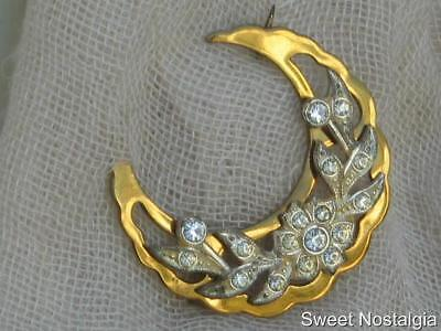 Beautiful Vintage Art Nouveau White Diamante/paste Flower On Crescent Brooch