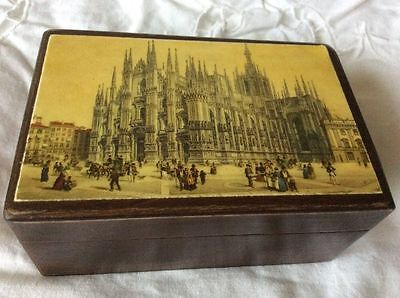 Antique hand crafted wooden trinket box from Florence