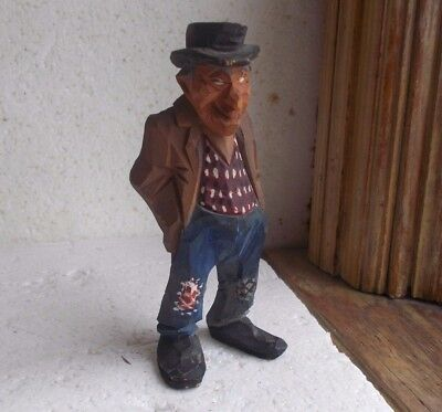 Antique Hand Carved American Folk Art Wood Figure Of Old Man In Patched Trousers