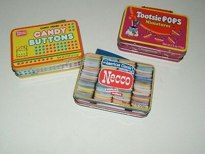 Lot Of Three Mini Metal Lunchboxes Tootsie Pops, Necco & Candy Buttons.=