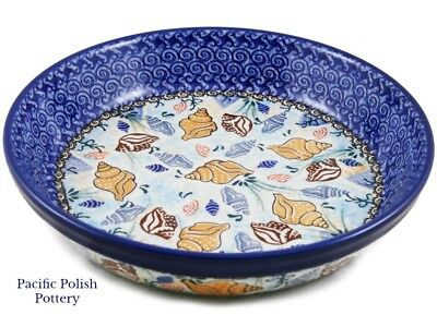 Polish Pottery Unikat Round Pie Baker Bowl (230-u1899) Nautical Shells Ocean