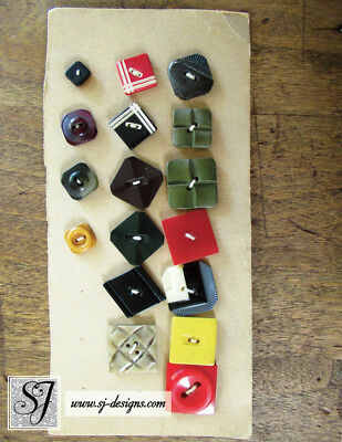 vintage Art Deco style Buttons collection of 17 Bakelite on card geometrics