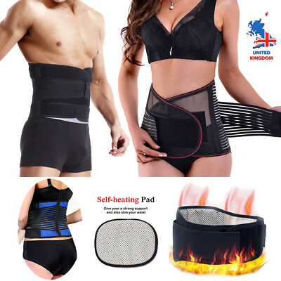 New Lower Back Support Belt Lumbar Brace Waist Posture Pain Relief Black UK AM
