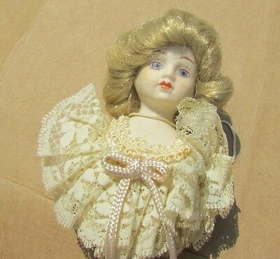Gorgeous Victorian Doll On Stick Porcelain Christmas Ornament 10""